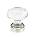 86402SN Oval crystal cabinet knob satin nickel setting