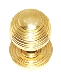 VR435 PB Reeded Cast Brass Knob & Rose