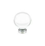 86395SN Round crystal cabinet knob with satin nickel setting