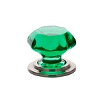 86207SN. Emerald crystal knob Satin nickel setting