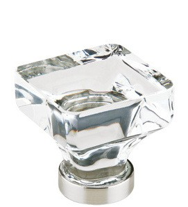 86404SN Square crystal Cabinet Knob large